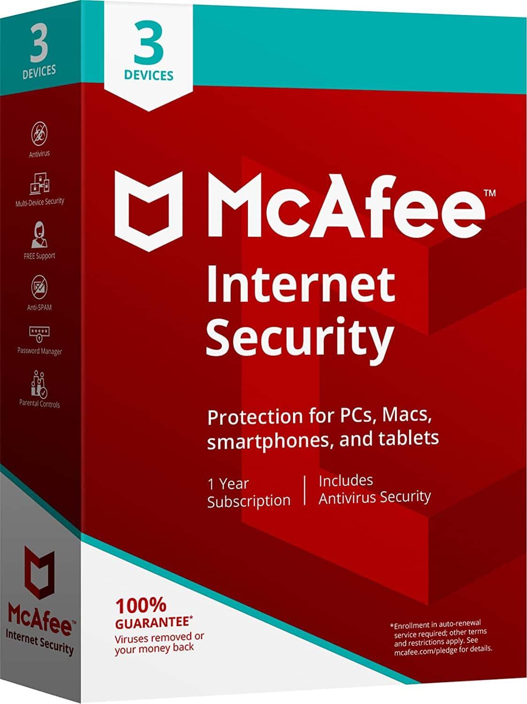 McAfee Internet Security 3 laitetta, 1 vuosi