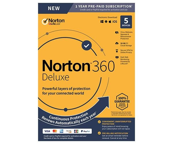 Norton 360 Deluxe 5 laitetta 1 vuosi
